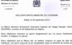 Déclaration du Ministre du Tourisme